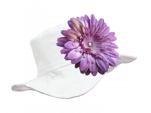 White Sun Hat with Lavender Daisy