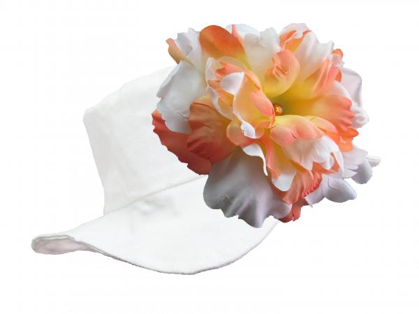 White Sun Hat with Orange White Large Peony