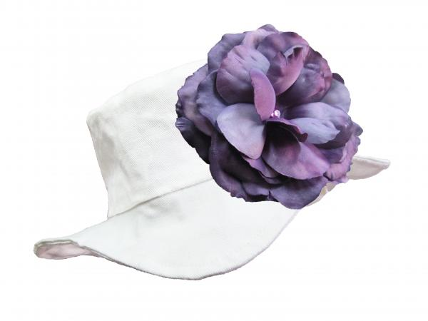 White Sun Hat with Purple Large Rose