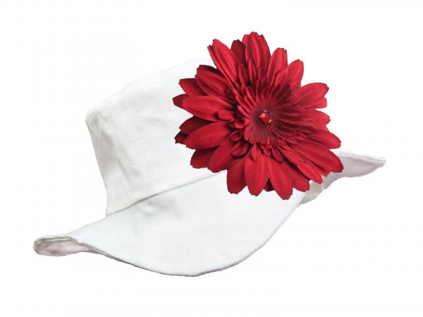 White Sun Hat with Red Daisy