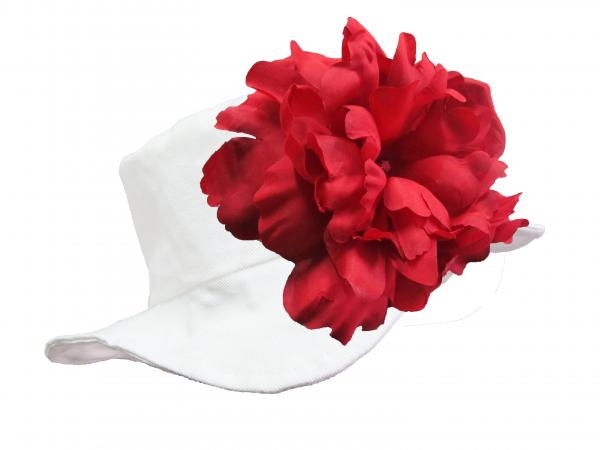 White Sun Hat with Red Large Peony