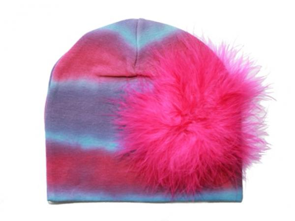 Blue Pink Purple Tie Dye Hat with Hot Pink Large regular Marabou