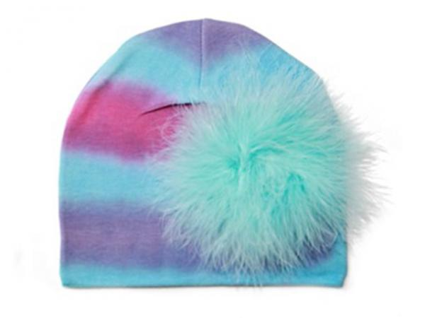 Blue Pink Purple Tie Dye Hat with Teal Large regular Marabou