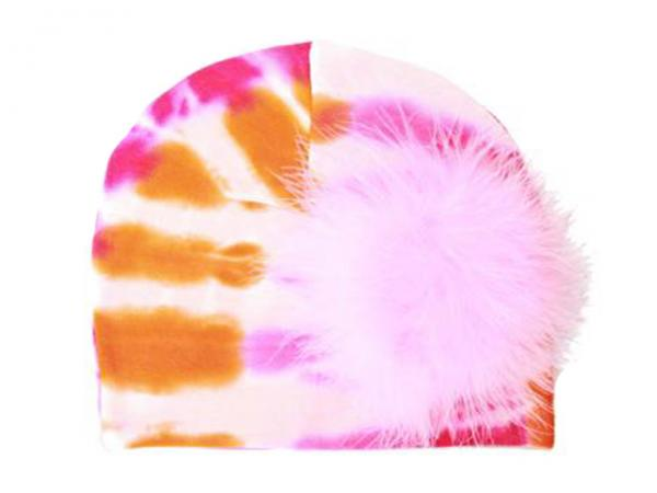 Orange Pink Tie Dye Hat with Candy Pink Large regular Marabou