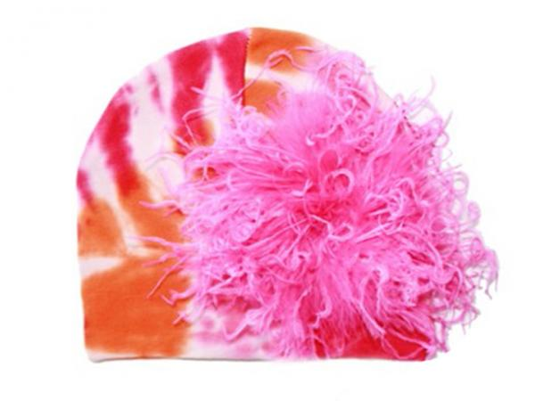 Orange Pink Tie Dye Hat with Hot Pink Large Curly Marabou