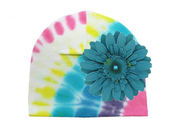 Pastel Tie Dye Hat with Teal Daisy