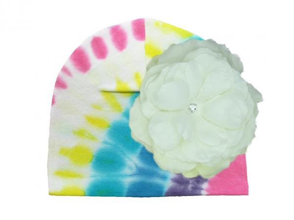 Pastel Tie Dye Hat with White Large Rose