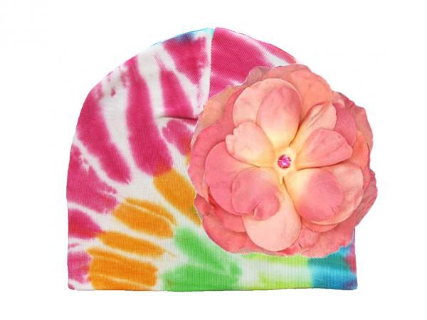 Rainbow Tie Dye Hat with Candy Pink Large Rose