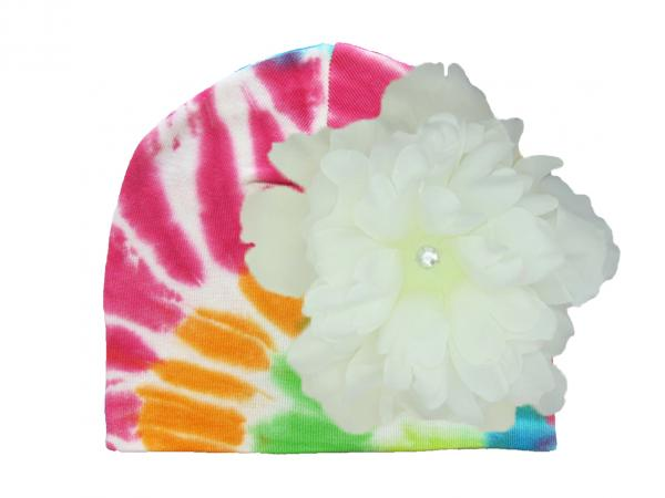 Rainbow Tie Dye Hat with White Large Peony