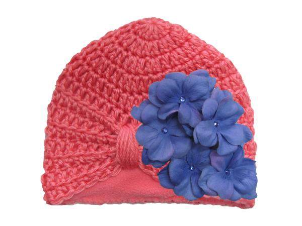 Candy Pink Tiny Turban with Lavender Small Geraniums