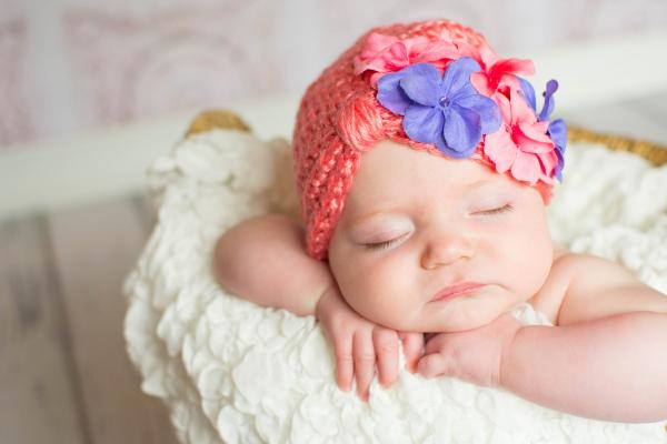 Candy Pink Tiny Turban with Pink Lavender Small Geraniums