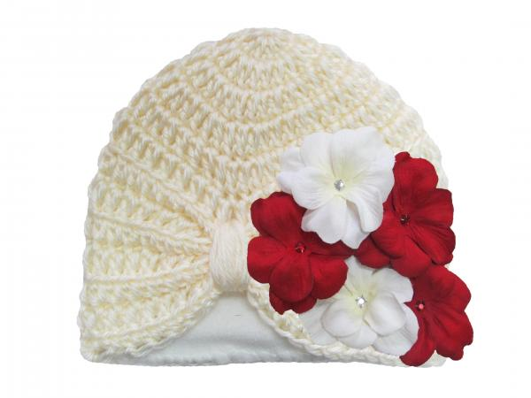 Cream Tiny Turban with Red White Small Geraniums