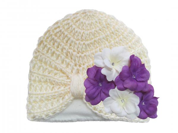Cream Tiny Turban with White Purple Small Geraniums