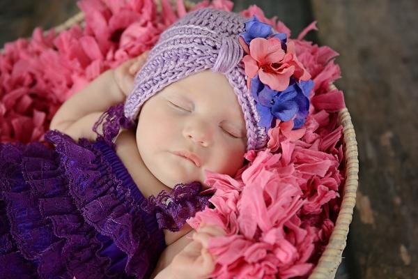 Lavender Tiny Turban with Pink Lavender Small Geraniums