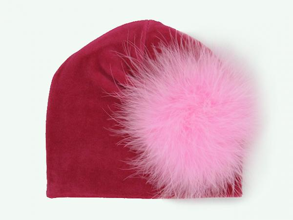 Raspberry Velvet Hat with Candy Pink Large regular Marabou