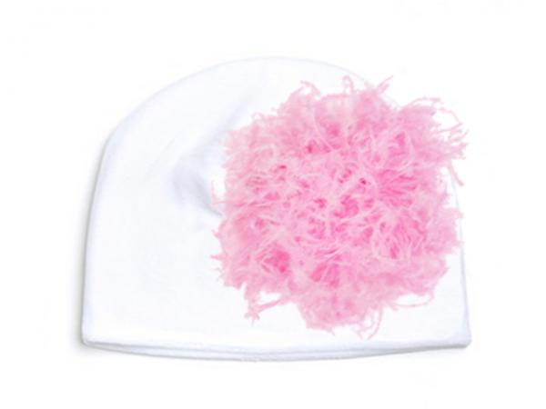 White Velvet Hat with Candy Pink Large Curly Marabou