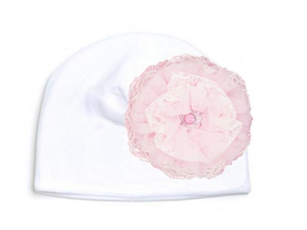 White Velvet Hat with Pale Pink Lace Rose
