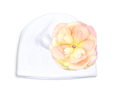 White Velvet Hat with Pale Pink Large Rose