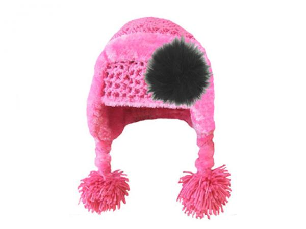 Candy Pink Winter Wimple Hat with Black Large regular Marabou