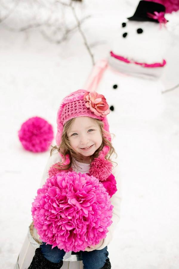 Candy Pink Winter Wimple Hat with Candy Pink Small Rose
