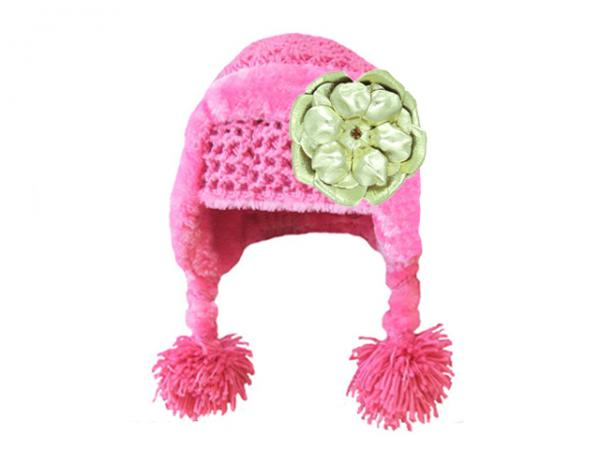 Candy Pink Winter Wimple Hat with Metallic Gold Rose