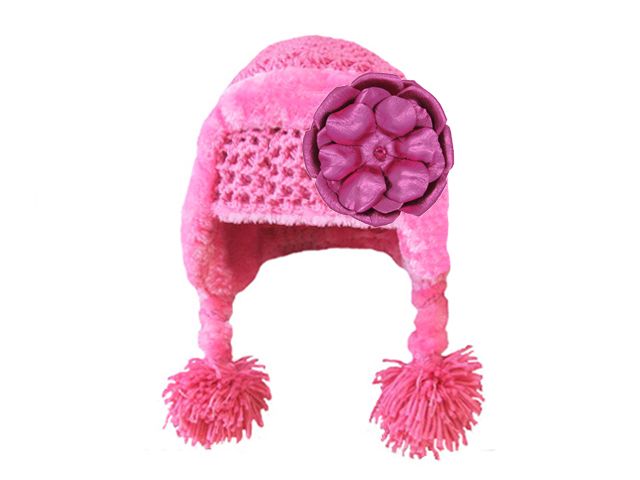 Candy Pink Winter Wimple Hat with Metallic Raspberry Rose