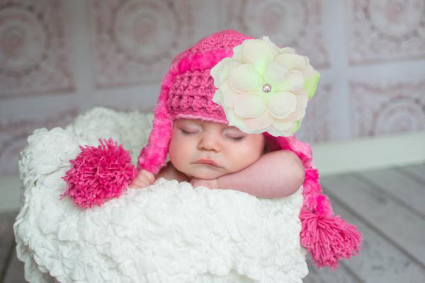 Candy Pink Winter Wimple Hat with Pale Pink Small Rose