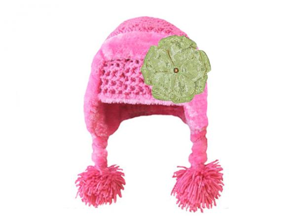 Candy Pink Winter Wimple Hat with Sequins Gold Rose