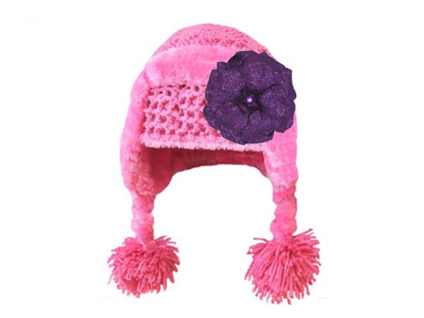 Candy Pink Winter Wimple Hat with Sequins Purple Rose