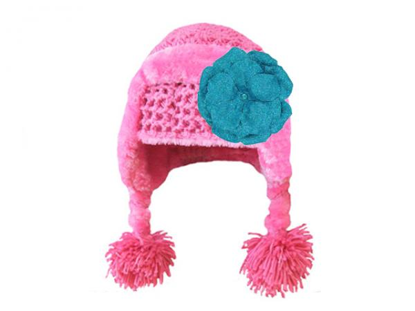 Candy Pink Winter Wimple Hat with Sequins Teal Rose