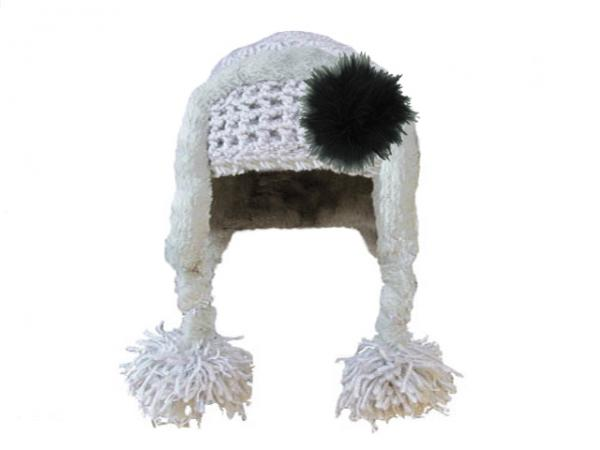 Gray Winter Wimple Hat with Black Large regular Marabou