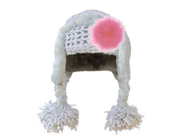 Gray Winter Wimple Hat with Candy Pink Large regular Marabou