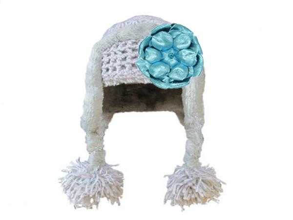Gray Winter Wimple Hat with Metallic Teal Rose