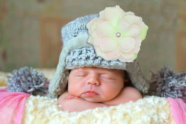 Gray Winter Wimple Hat with Pale Pink Small Rose