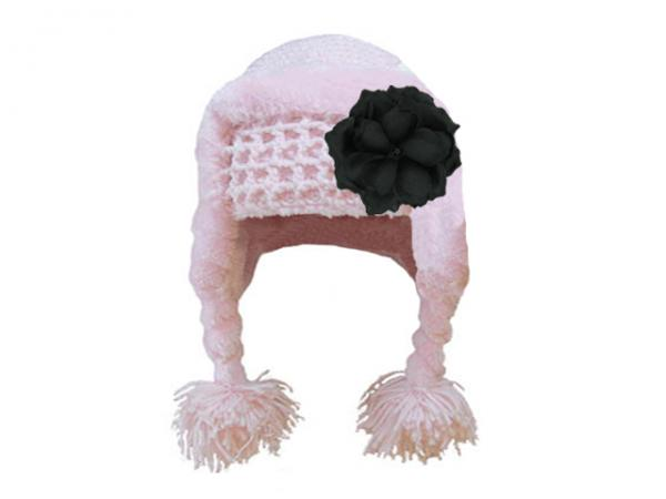 Pale Pink Winter Wimple Hat with Black Small Rose