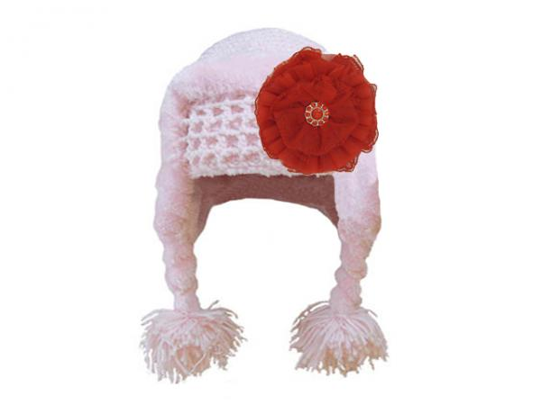 Pale Pink Winter Wimple Hat with Red Lace Rose