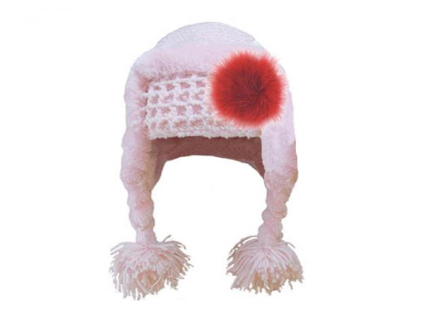Pale Pink Winter Wimple Hat with Red Large regular Marabou