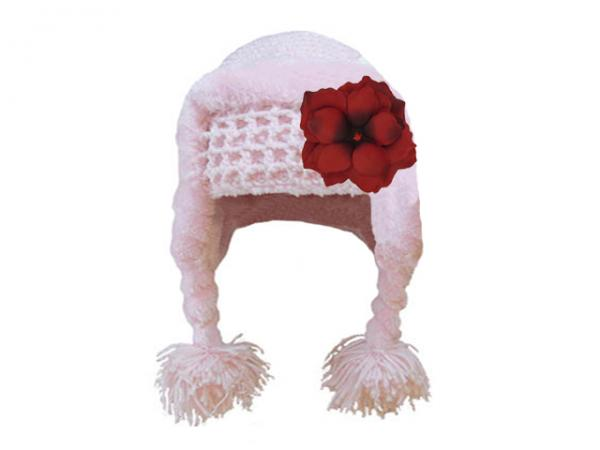 Pale Pink Winter Wimple Hat with Red Small Rose