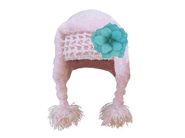 Pale Pink Winter Wimple Hat with Teal Small Rose