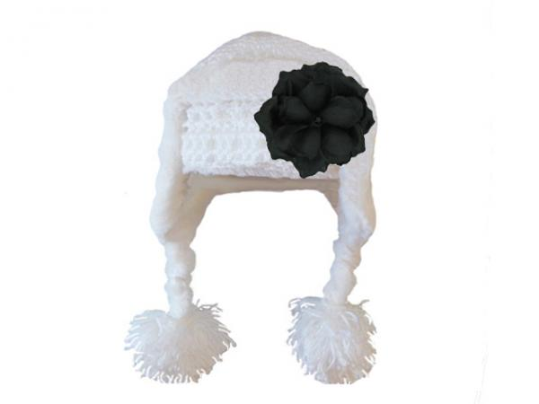 White Winter Wimple Hat with Black Small Rose