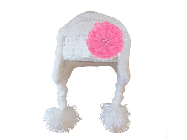 White Winter Wimple Hat with Candy Pink Lace Rose