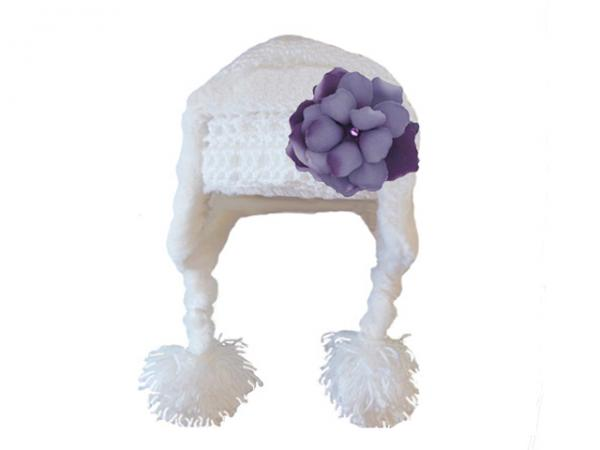 White Winter Wimple Hat with Purple Small Rose