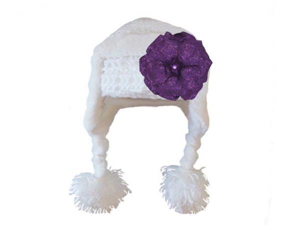 White Winter Wimple Hat with Sequins Purple Rose