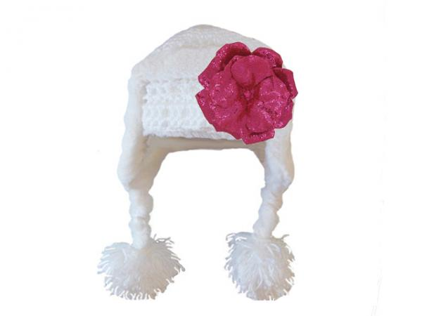 White Winter Wimple Hat with Sequins Raspberry Rose