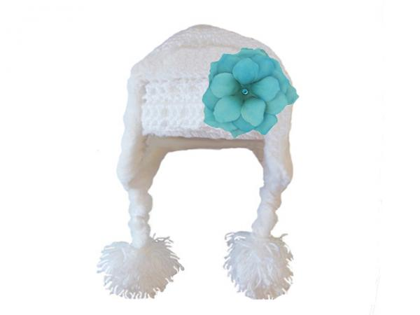 White Winter Wimple Hat with Teal Small Rose