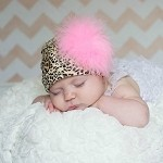 Leopard Print Hat with Marabou Puff