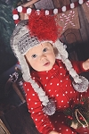 Grey Winter Wimple Hat with Red Curly Marabou