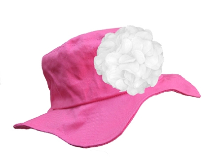 Raspberry Sun Hat with White Large Geraniums