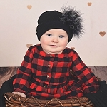 Black Cotton Hat with Black & White Large Regular Marabou
