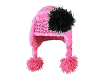 Candy Pink Winter Wimple w Black Curly Marabou